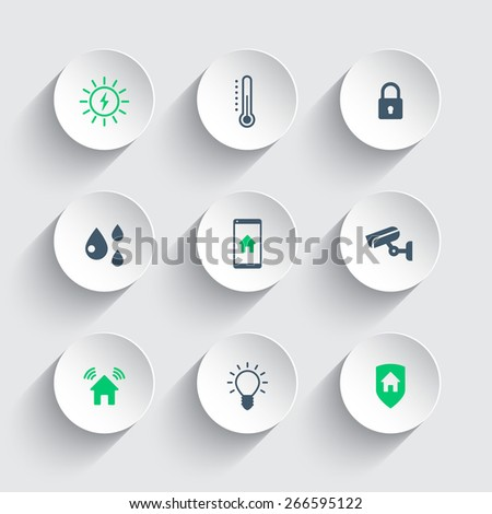 Smart house round modern icons, vector illustration, eps10, easy to edit - stock vector
