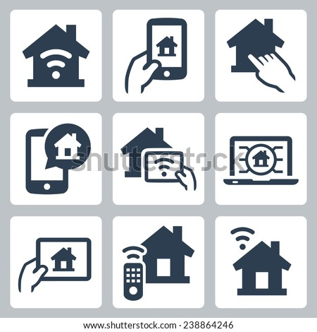 Smart house system vector icon set - stock vector
