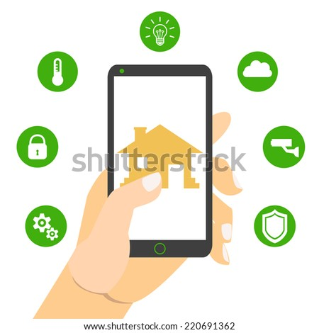 Smart house technology. Vector illustration concept. Hand holding smartphone - stock vector