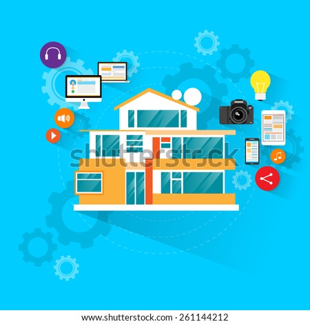 smart house technology with electronic device icons flat design vector illustration - stock vector
