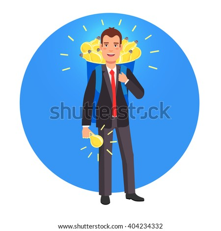 Smart innovator and entrepreneur with a backpack sack full of glowing bright ideas. Flat style vector illustration. - stock vector