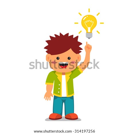 Smart kid having a bright idea. Holding index finger up and pointing to a glowing light bulb. Flat style vector cartoon illustration isolated on white background. - stock vector
