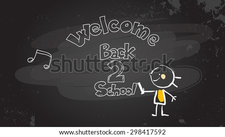 Smart little girl writing welcome back to school on blackboard. Educational sketch, doodle style vector illustration, hand drawn stick figure.  - stock vector