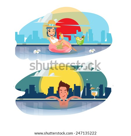 smart man and women relaxing in a swimming pool with a cocktail. sky pool with city background. luxury concept - vector illustration - stock vector