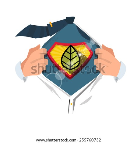 "smart man open shirt to show ""leaf symbol"" in hero style. Saving the World concept - vector illustration - stock vector"