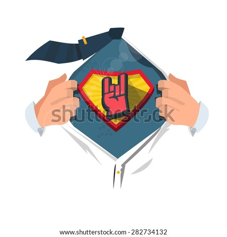 smart man open shirt to show  rock hand symbol  in hero style. heavy rock and professional concept - vector illustration - stock vector