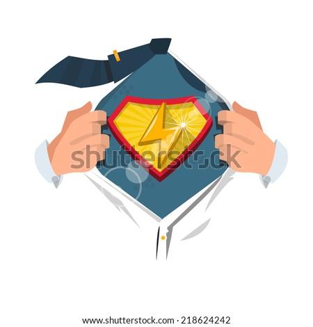 "smart man open shirt to show "" thunder icon "" in superhero style. power concept - vector illustration - stock vector"