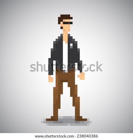 smart man pixel style vector isolate. - stock vector