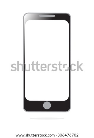 smart mobile phone with blank screen isolated on white background in Vector