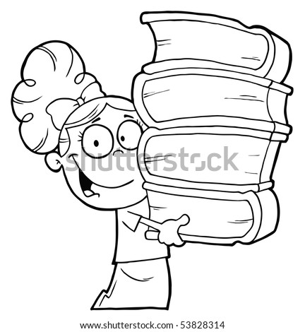 Smart Outlined School Girl Carrying A Stack Of Books - stock vector