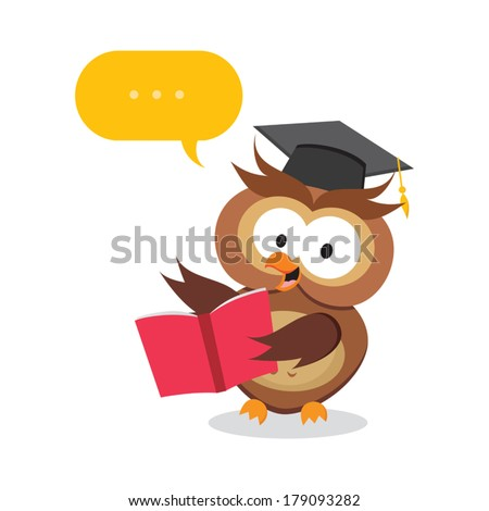 Smart owl on lesson. Vector illustration of an owl teacher holding a book with speech bubble. - stock vector