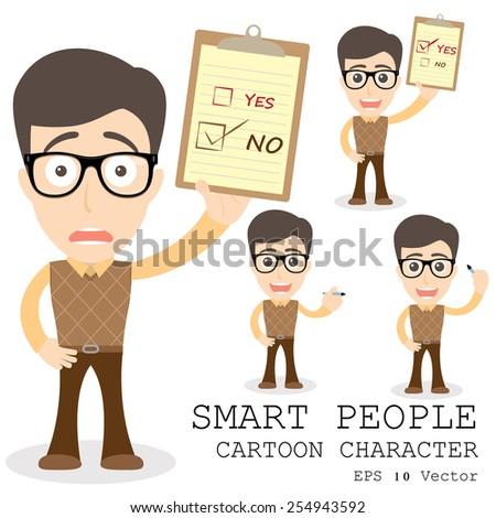 Smart people cartoon character eps 10 vector illustration - stock vector