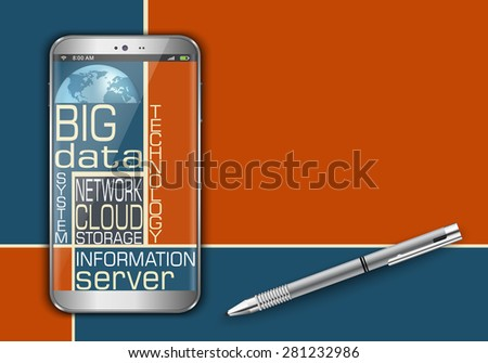 Smart phone and big data word cloud concept design - stock vector