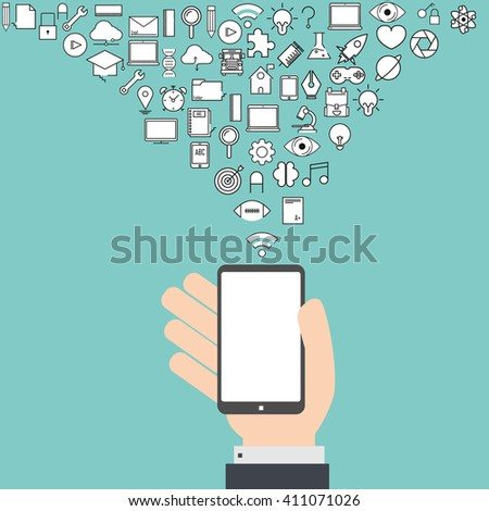 Smart phone and cloud technology with social network and school icons background, icon line