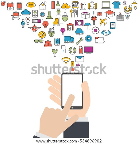 Smart phone and cloud technology with social network icons background