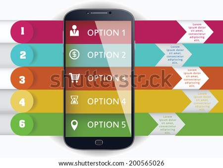 smart phone and  mobile phone infographics vector illustration - stock vector