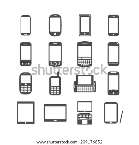 smart phone and tablet icon set, each icon is a single object (compound path), vector eps10 - stock vector