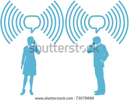 Smart phone business people phone talk in wireless speech bubble copy space