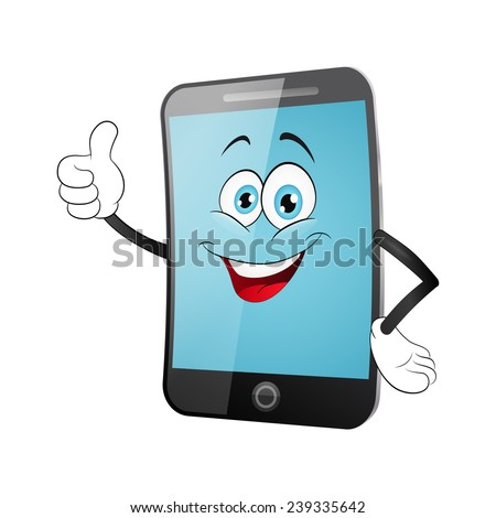 Smart phone cartoon on a white background - stock vector