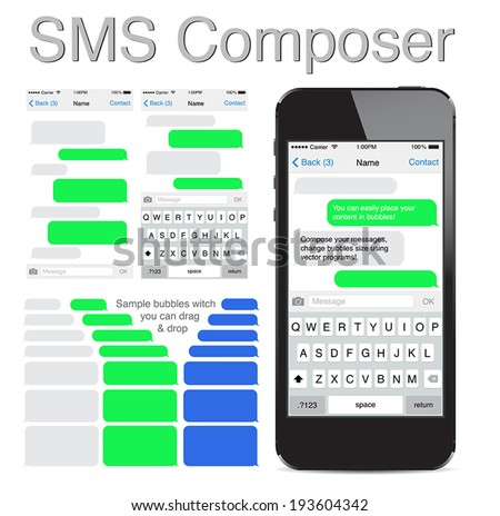 Smart Phone chatting sms template bubbles. Place your own text to the message clouds. Compose dialogues using samples bubbles! Eps 10 format, iphon style - stock vector