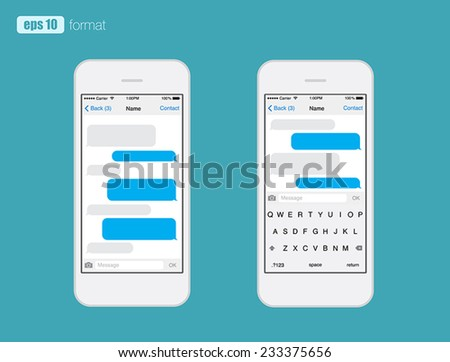 Smart Phone chatting sms template bubbles. Place your own text to the message clouds. Compose dialogues using samples bubbles! Eps 10 format - stock vector