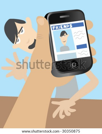 Smart Phone - Dumb Friend - Vector Illustration - stock vector