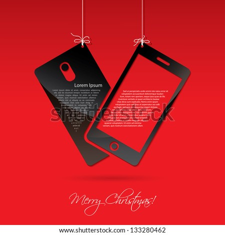 Smart phone for Christmas - vector illustration - stock vector