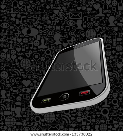 Smart phone generic on black icons background. Vector file layered for easy manipulation and customisation. - stock vector