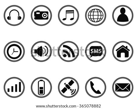 Smart phone interface icons set - stock vector