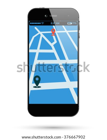 Smart phone isolated with map location. Smartphone isolated with location mark on map. Mobile phone isolated with location point. Vector illustration. - stock vector