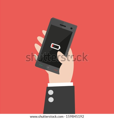 Smart Phone Low Battery  - vector  - stock vector