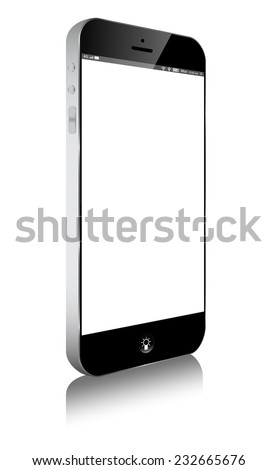 smart phone Mobile similar iphone isolated on white - stock vector
