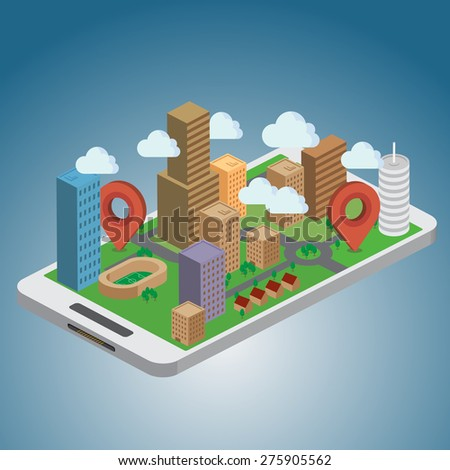 Smart Phone Navigation - GPS concept - stock vector