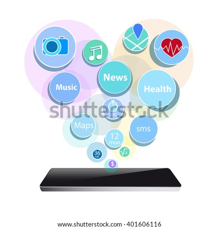 smart phone new technology electronic device with apps icons flat design vector illustration