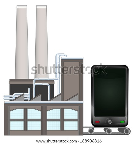 smart phone on factory transport belt industry concept vector illustration - stock vector