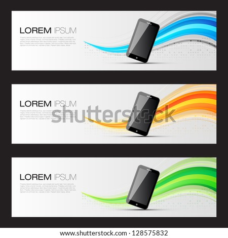 Smart Phone Promotion Banners | Website Headers Template | EPS10 Editable Vector Design - stock vector