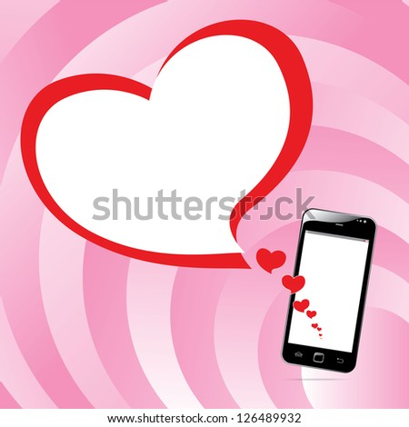 Smart phone touch screen with heart love concept. vector illustration - stock vector