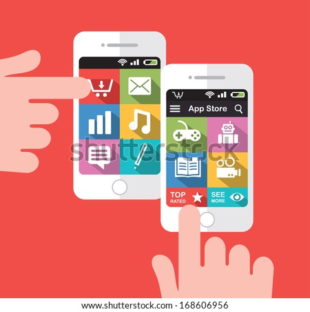 Smart phone with application store screen interface - stock vector