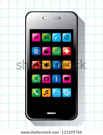 Smart phone with application vector - stock vector