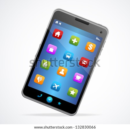 Smart Phone With blue screen and icons