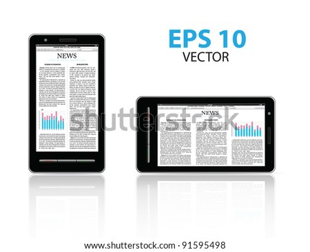 smart-phone with business article. vector - stock vector