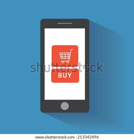Smart phone with buy button on the screen. E-commerce flat design concept. Using mobile phone for online purchasing. Eps 10 vector - stock vector