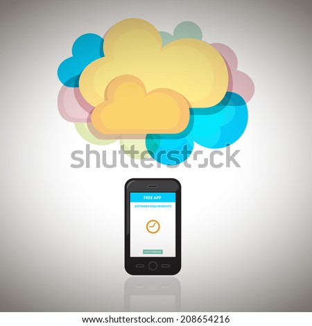 Smart Phone with Cloud - stock vector
