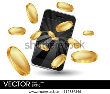 Smart phone with coins - stock vector
