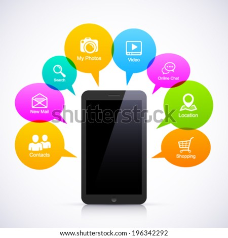 Smart phone with colorful speech bubbles. - stock vector