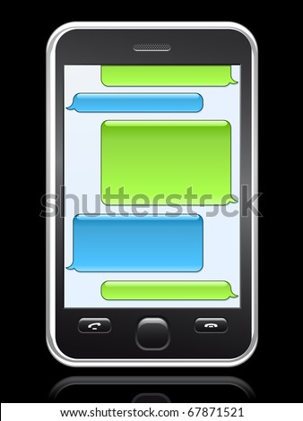smart phone with conversation speech bubbles - stock vector