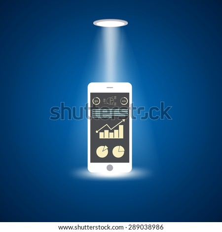 Smart phone with increasing bar chart on the screen, flat design concept - stock vector