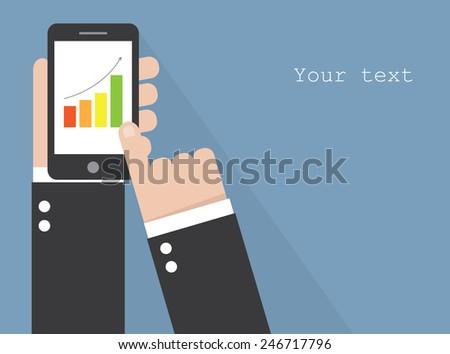 Smart phone with increasing bar chart. Vector - stock vector