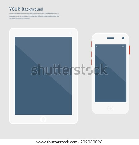 Smart Phone with Isolated. Realistic white vector. Flat design vector illustration concept for mobile apps. Design kit UI Elements - stock vector