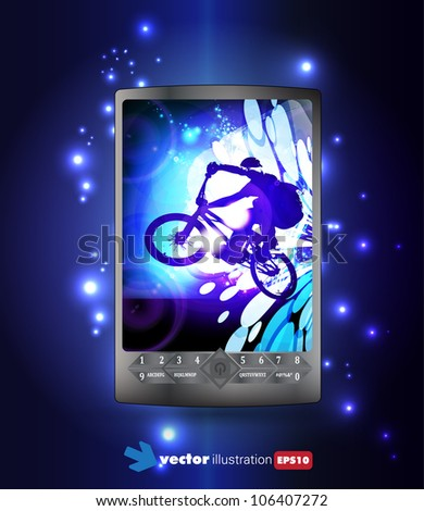Smart phone with sport application - stock vector